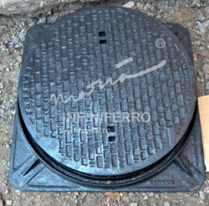 manhole cover bulat frame kotak