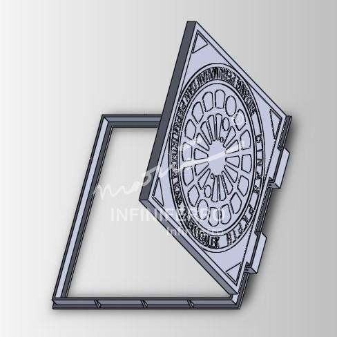 desain manhole cover dengan engsel